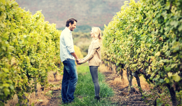 Vineyard Couple with wood wine rings