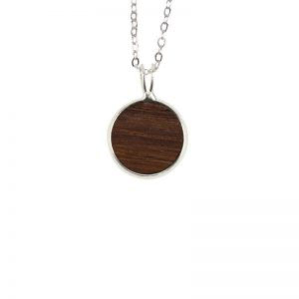 Wine Barrel Wood Circle Charm Pendant Necklace