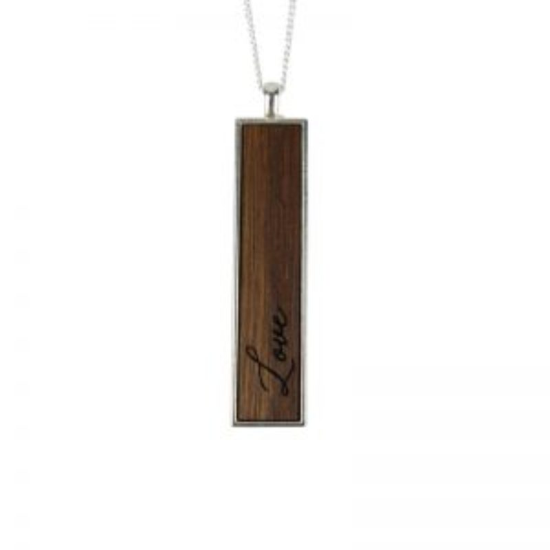 Wine Barrel Wood Necklace with Love inscription