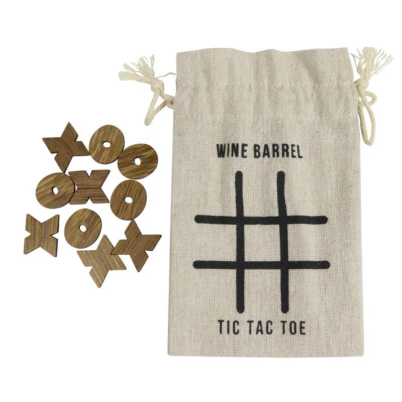 Wine Barrel Games - tic tac toe wine barrel pieces with storage bag